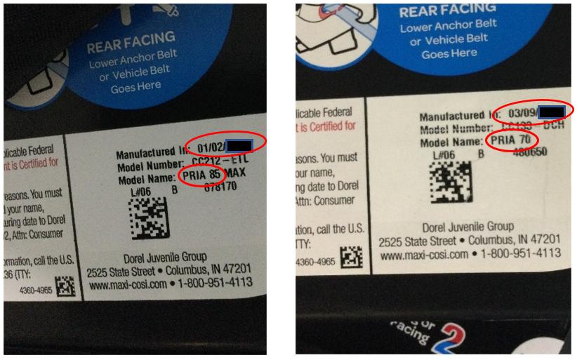 pria manufacture date information